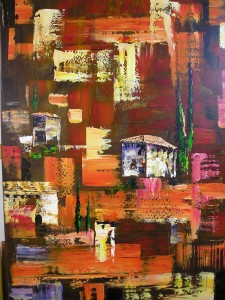 Toskana-Landschaft (Abstrakt) Acryl a. Leiwand Gespachtelt 80x100 cm 420 €