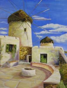 Windmühlen Acryl a. Leinwand 80x100 cm 650 €