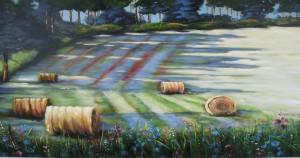 Strohballen am Waldrand Acryl a. Leinwand 100x80 cm 600 €