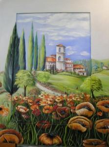 Dorf in der Toskana Rahmen zugeschnitten und bemalt (3-D) Acryl auf Leinwand ca 120x90 cm 750 €