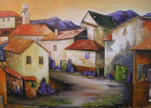 Das Dorf Acryl auf Leinwand 8100x70 cm 650 €