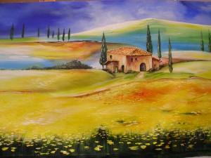 Hofgut in der Toskana Acryl a. Leinwand 80x60 cm 400 €