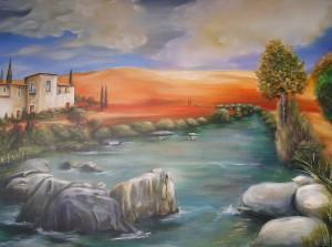 Häuser am Fluss Acryl a. Leinwand 120x80 cm 550 €