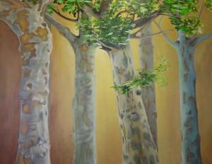 Platanen im Licht Acryl a. Leinwand 100x80 cm 450 €