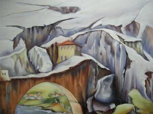 Brücke zum Haus in der Felsenschlucht Acryl a. Leinwand 80x60 cm 450 €